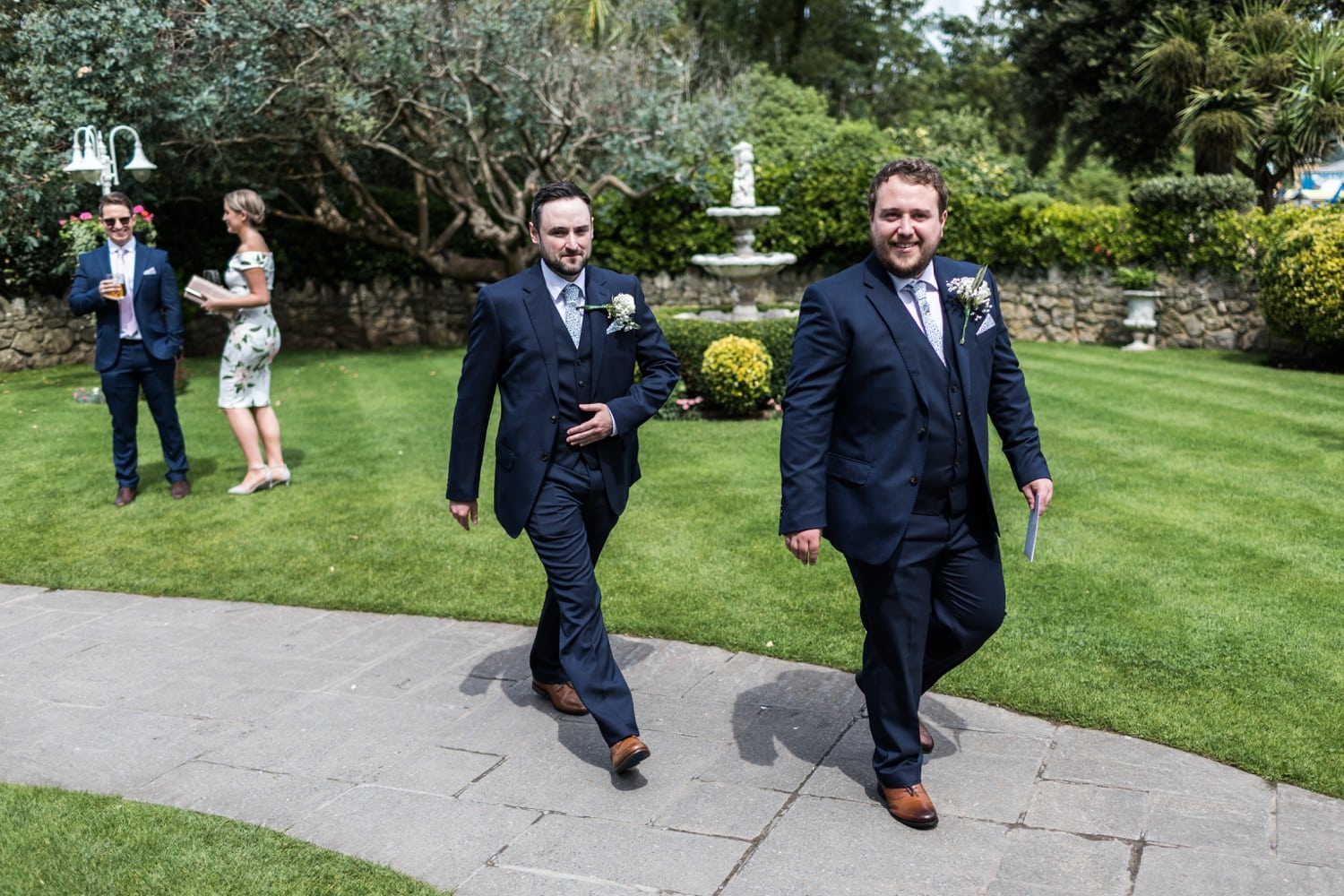 Groom arrives at Oxwich Bay Hotel