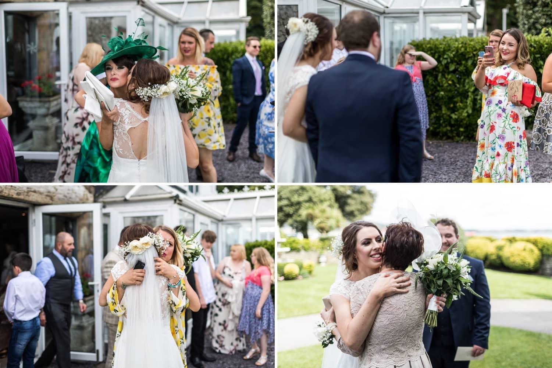 wedding guests congratulate