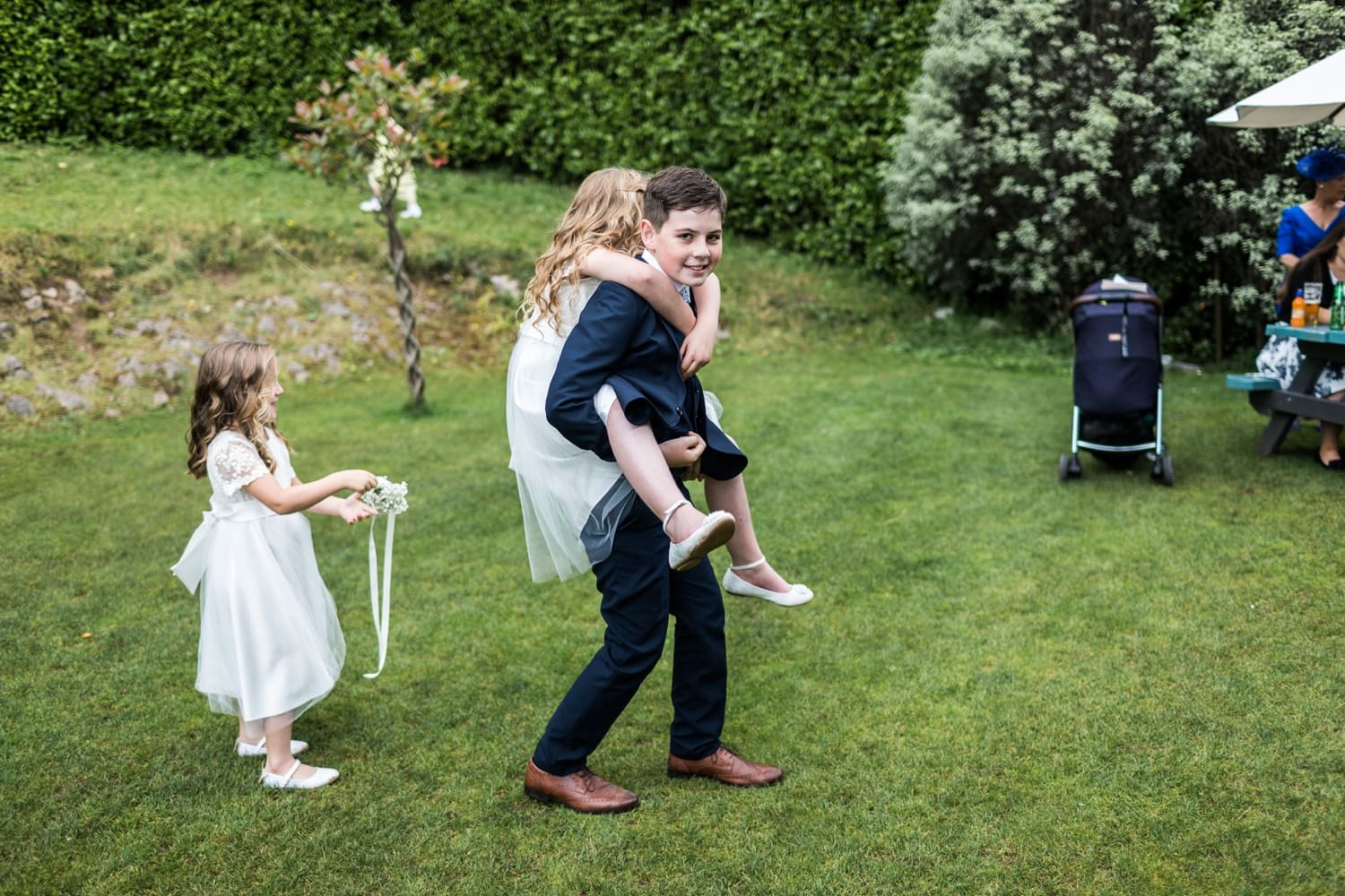 Piggy bag ride at wedding