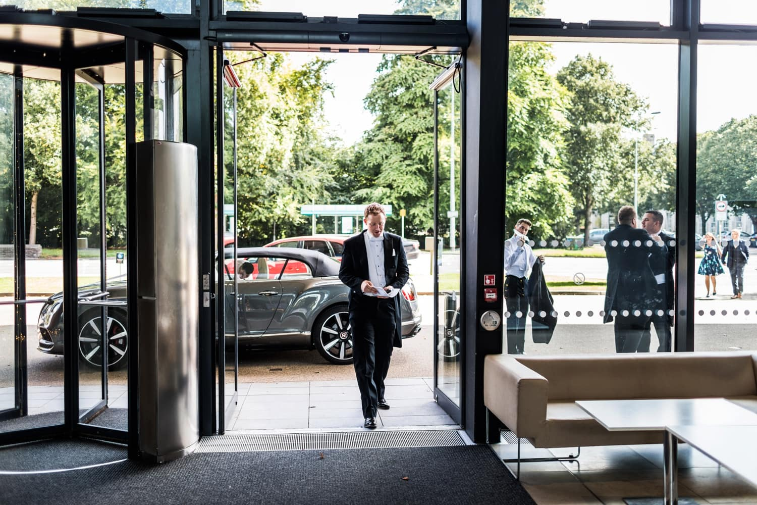 Groom arrives for wedding at The Royal Welsh College of Music and Drama