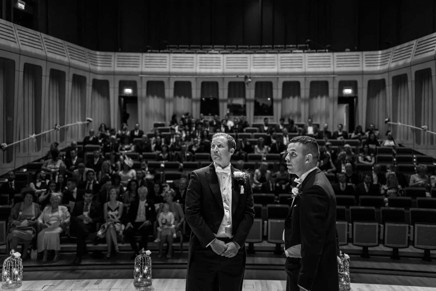 Groom with best man waiting for bride at Concert Hall Wedding