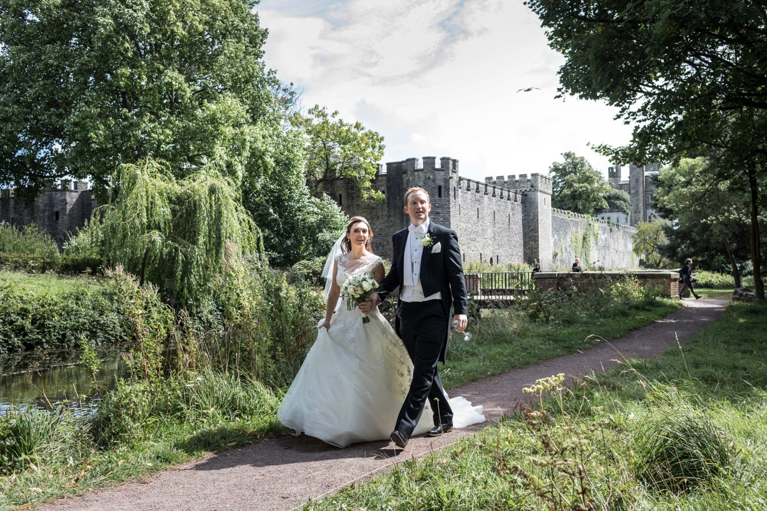 Bride and groom in Coopers Field, Cardiff, South Wales