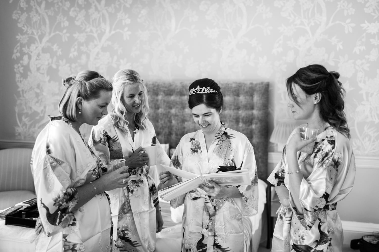 Bride and brides maids in dressing gowns