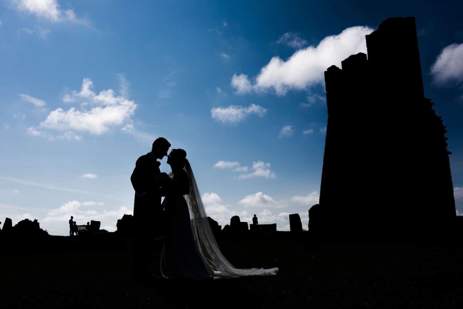 wedding day portraits at Aberystwyth Castle in Mid Wales