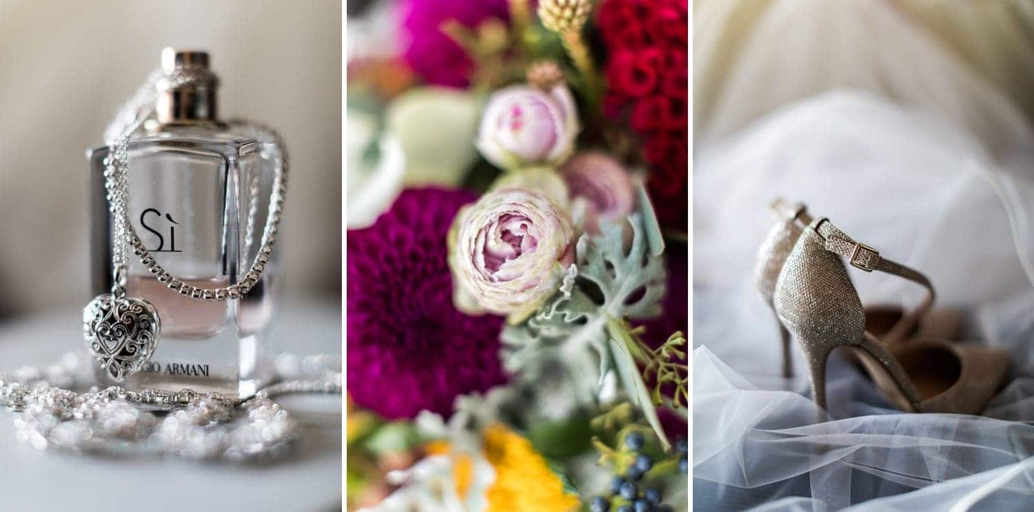 Wedding flowers, shoes and perfume for summer wedding at Pencoed House
