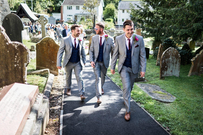 Ushers walking t St Catwgs Church in Pentyrch, South Wales