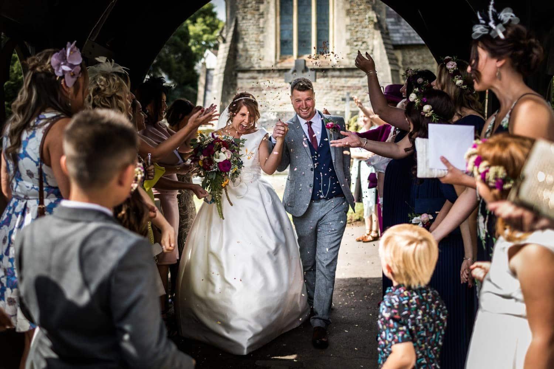 Wedding confetti in St Catwgs Church in Pentyrch, South Wales