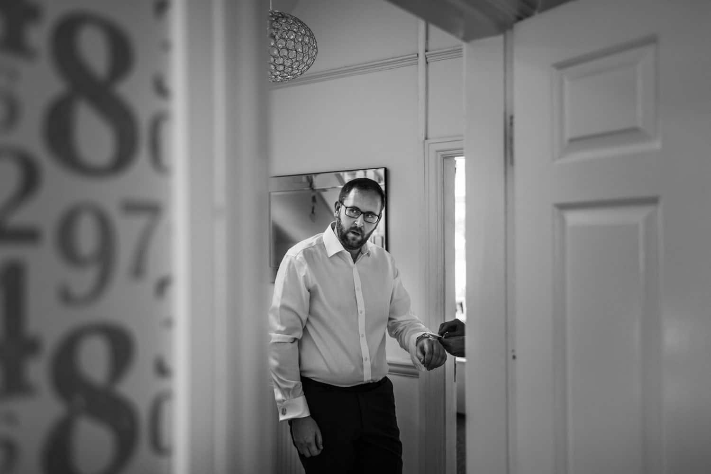 Gay groom gets ready for wedding