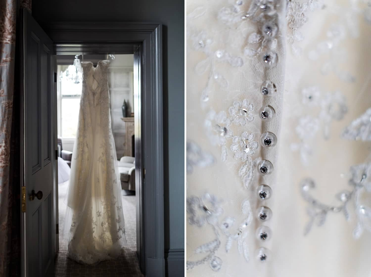 Wedding dress hanging up at Clevedon Hall in Somerset