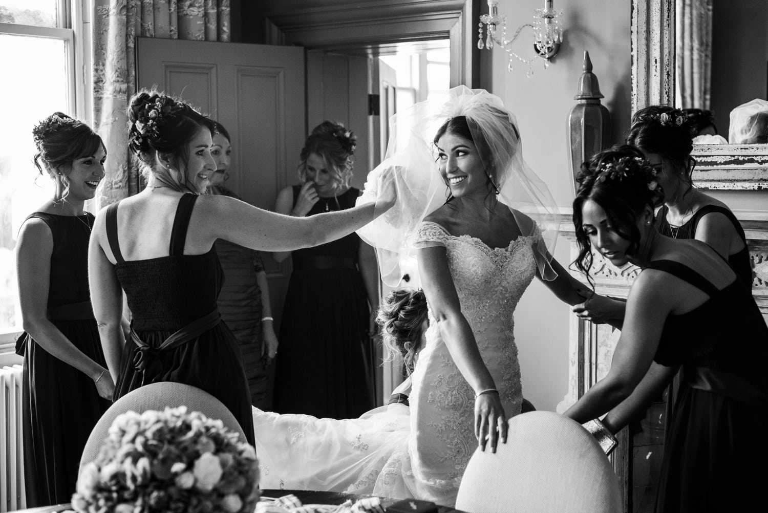 Bridal dressing at Clevedon Hall in Somerset