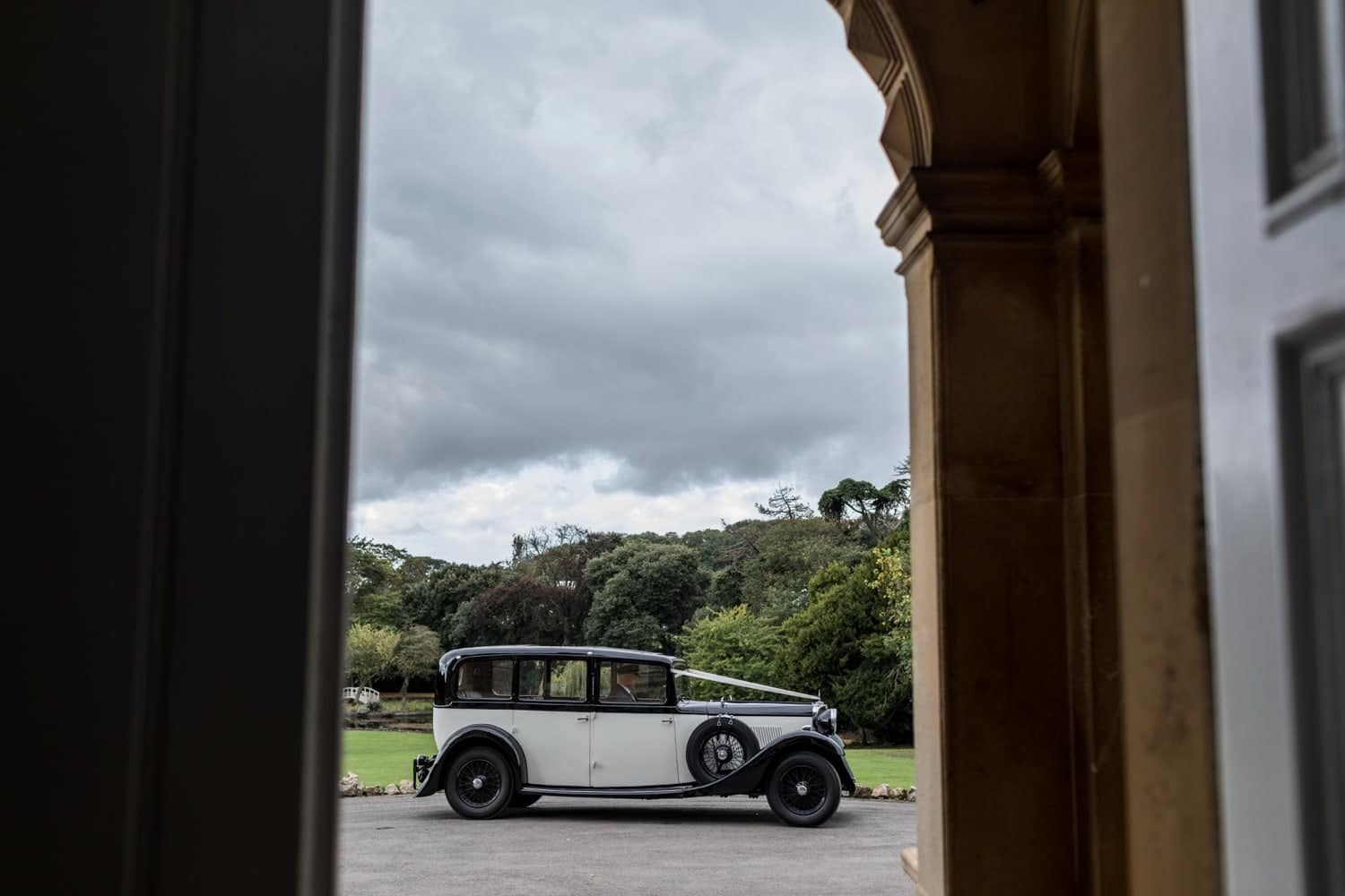 Wedding car at Clevedon Hall in Somerset