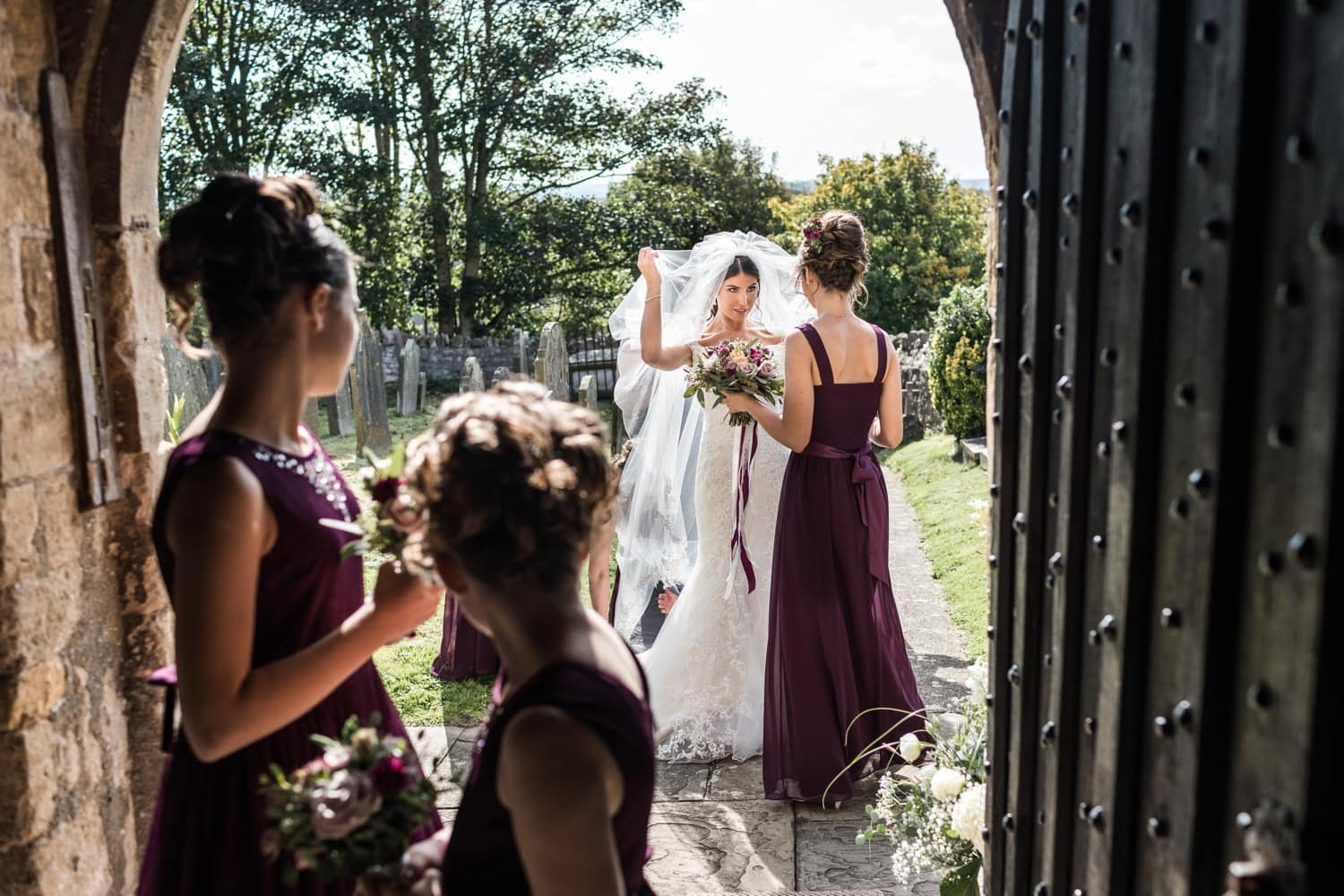 Bride arriving at St Andrews Church in Clevedon, Somerset