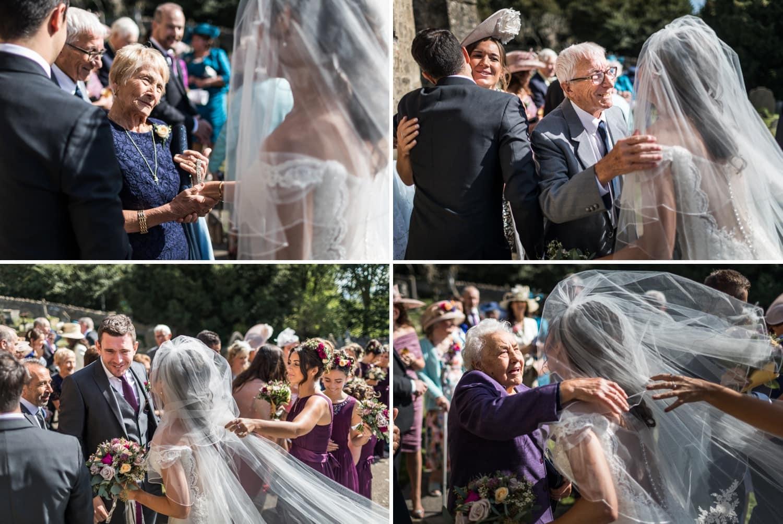 Somerset wedding guests congratulate bride and groom