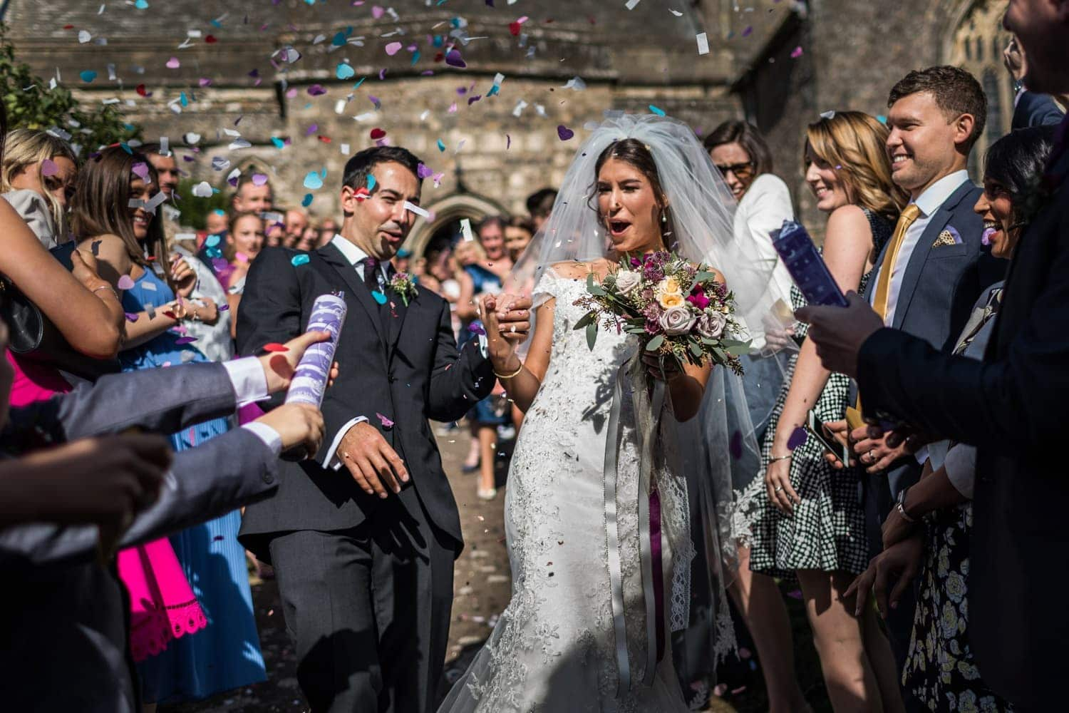 Somerset wedding guests throw confetti at bride and groom
