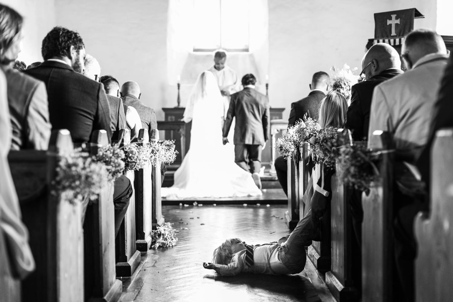 Wedding ceremony at Mwnt Church in Ceredigion, Wales