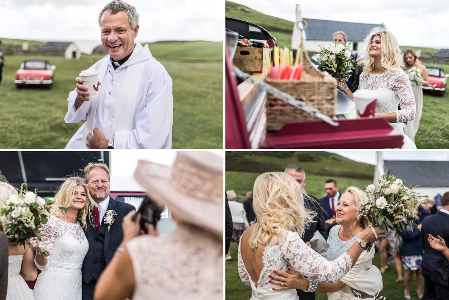 Wedding celebrations at Mwnt Church in Ceredigion, Wales
