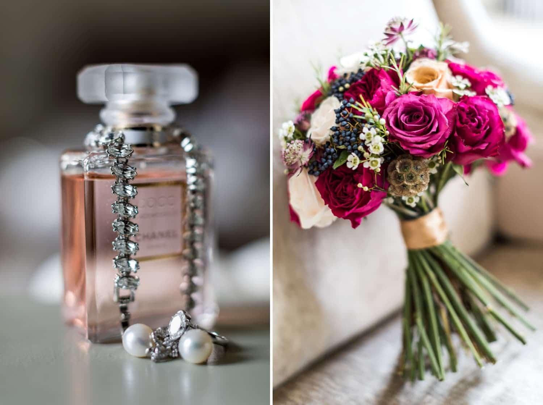 Wedding bouquet and perfume at Summer time wedding at Nanteos