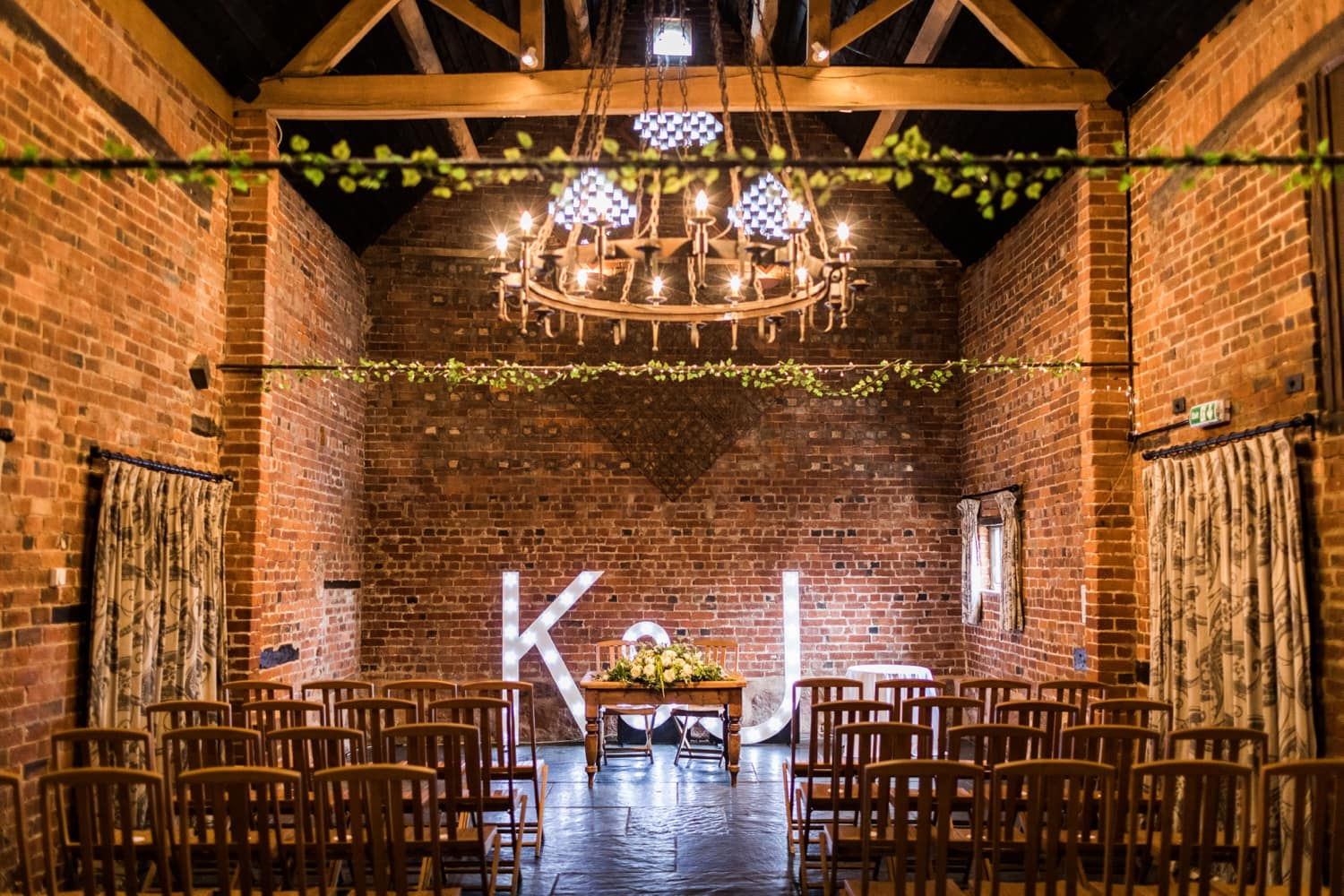 Inside of Curradien Barns ready for a wedding ceremony