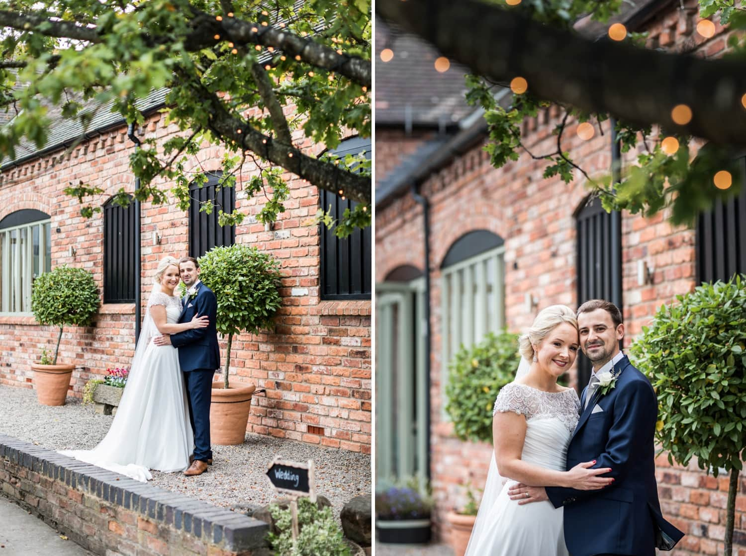 Bride and groom at Curradine Barns