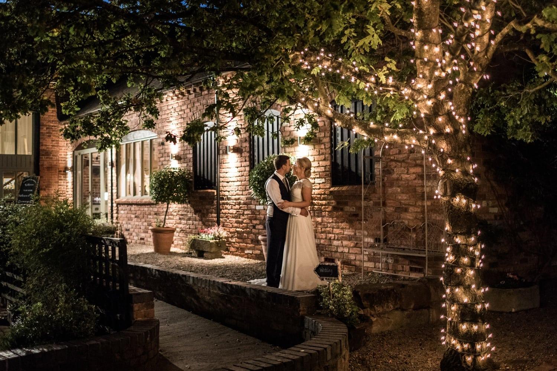 Night shot at wedding at Curradine Barns