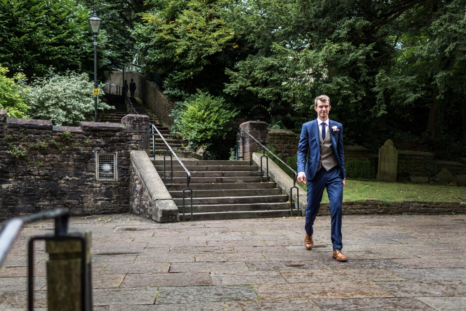 Groom arrives at Llandaff Cathedral