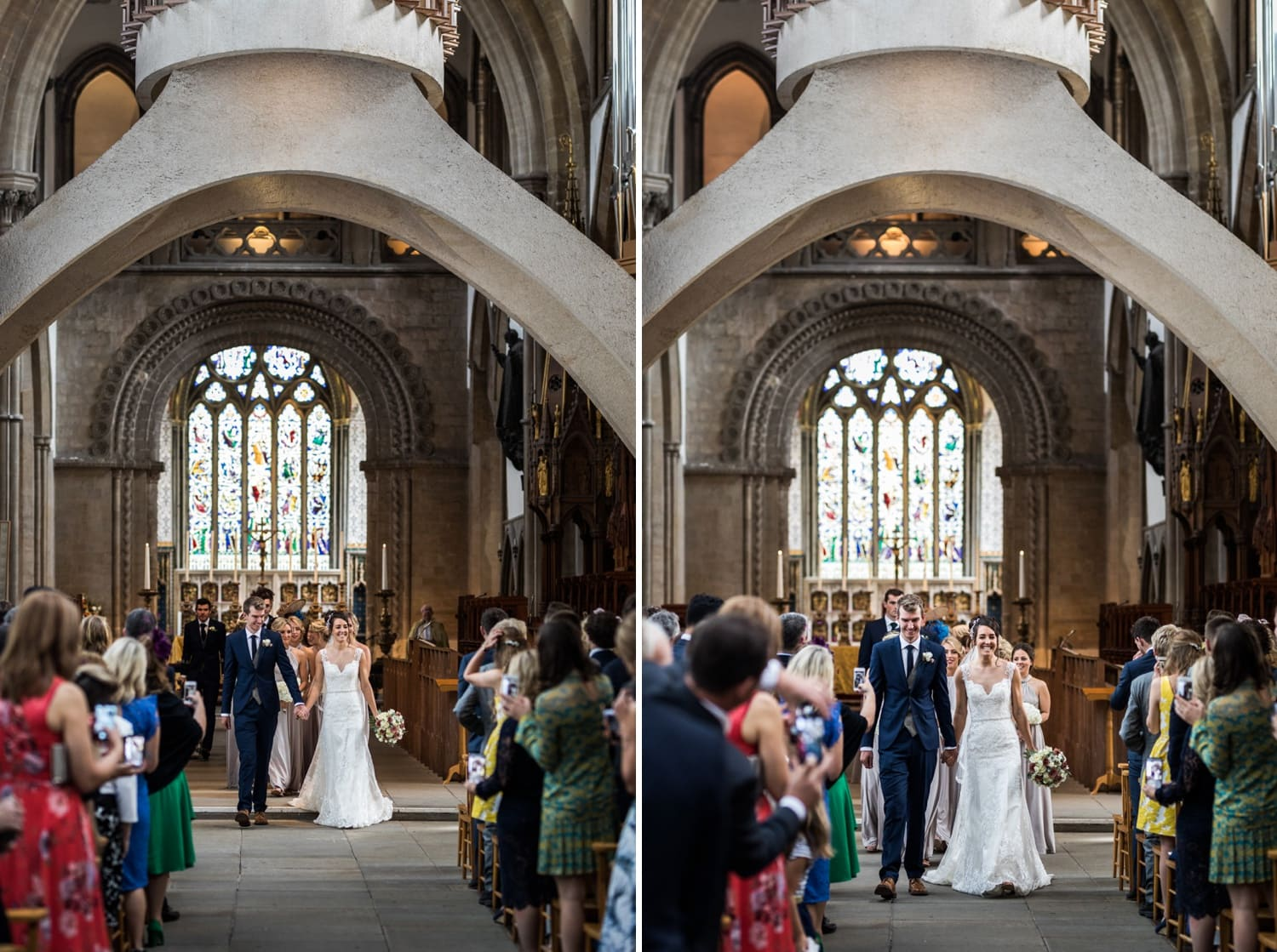 Bride and groom walk down the aisle at Llandaff Cathedral