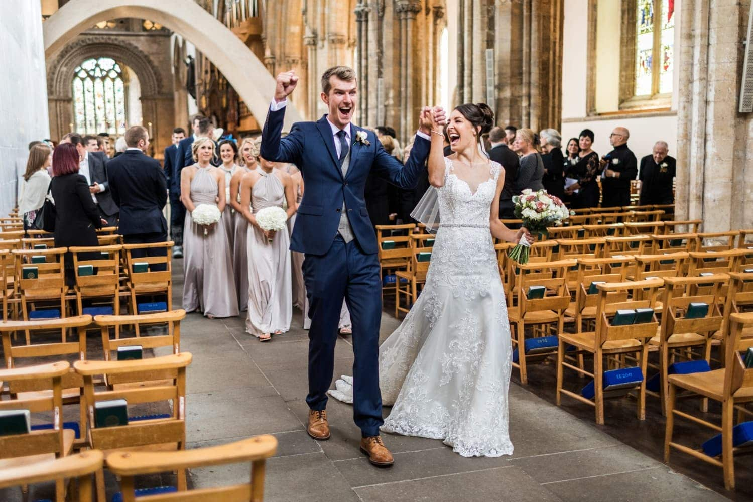 Dani King and Matt Rowe wedding ceremony at Llandaff Cathedral