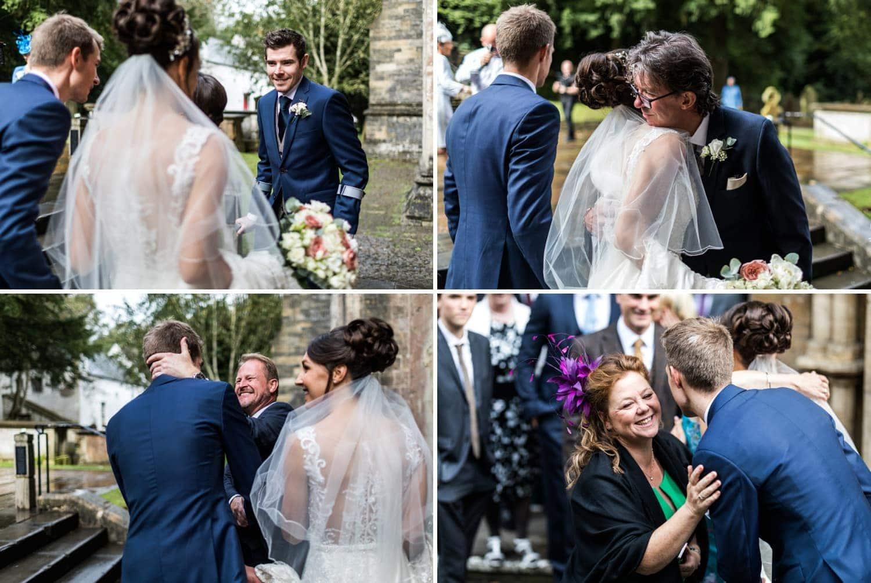 Wedding guest congratulate couple