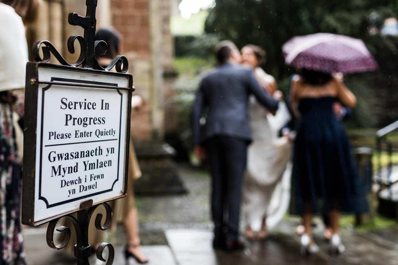 Wedding service in progress sign