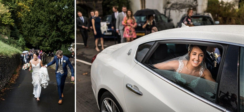 Bride in modern wedding car