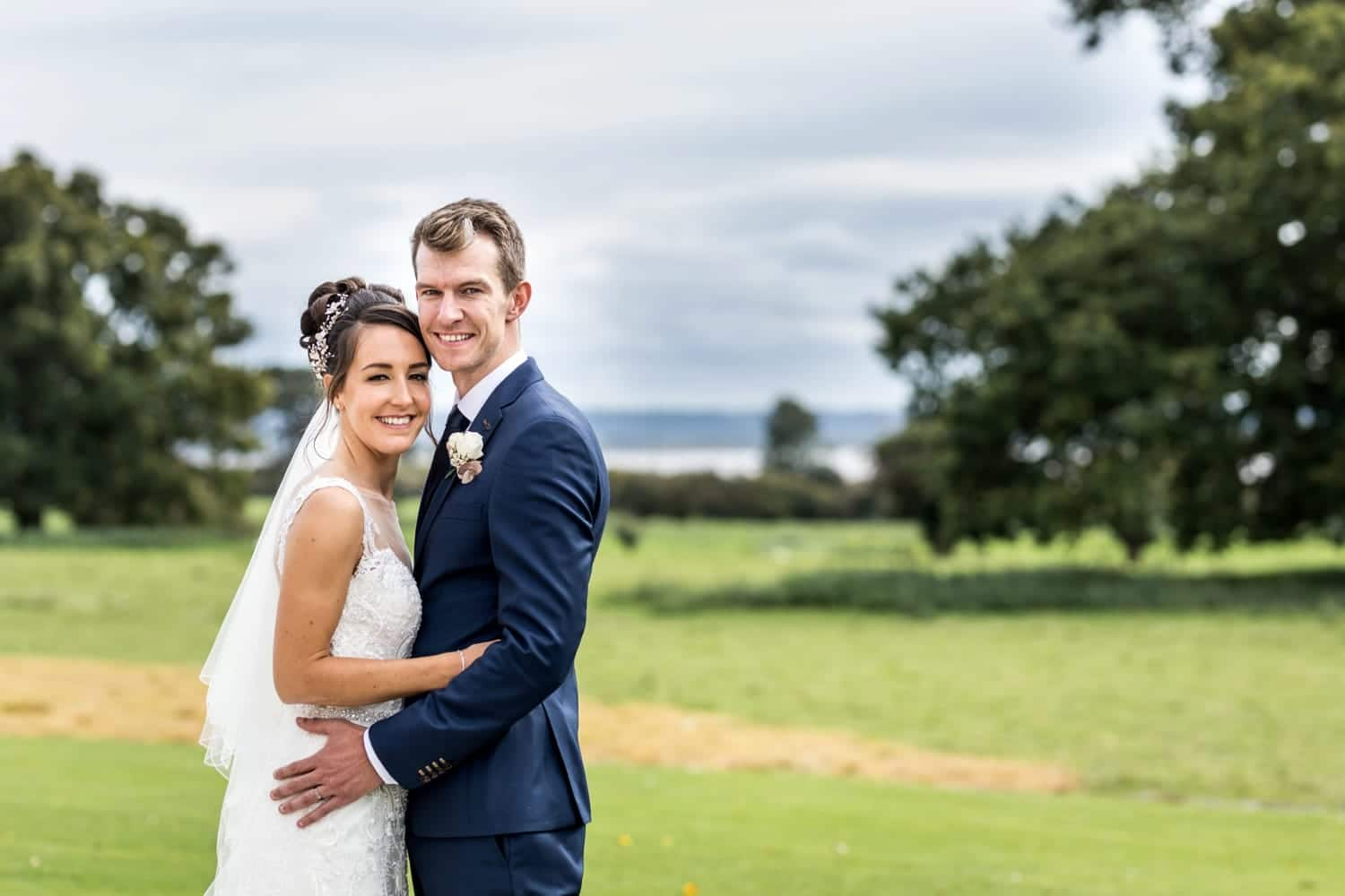 Bride and groom portraits at St Tewdrics House in South Wales