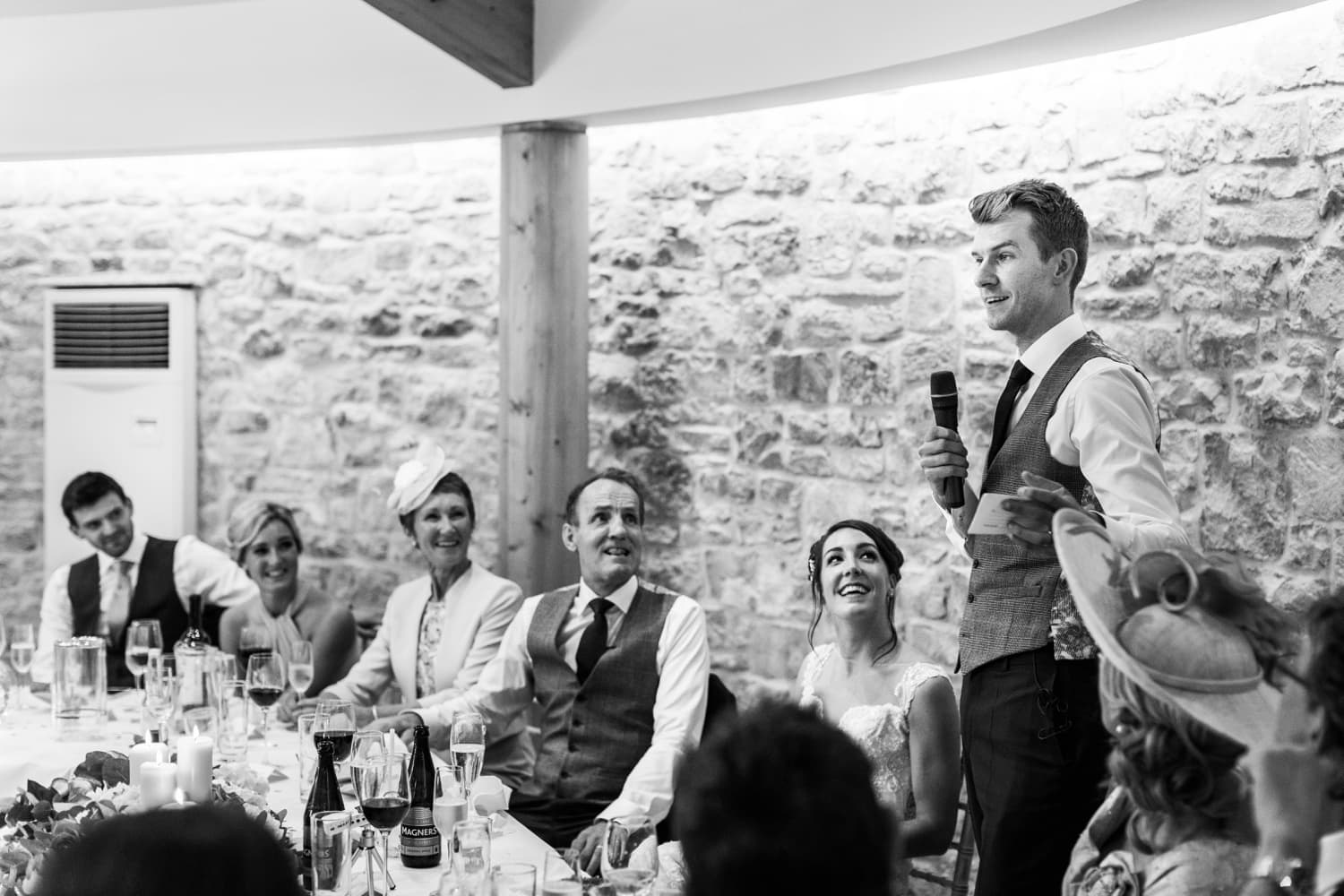 Wedding day speeches at St Tewdrics House in South Wales