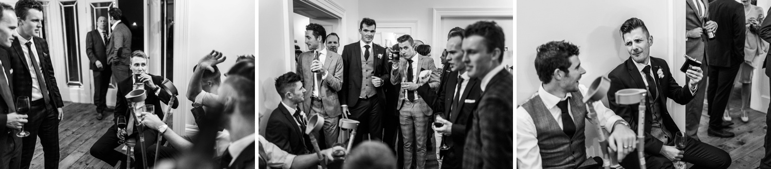 Wedding day drinks from hip flask