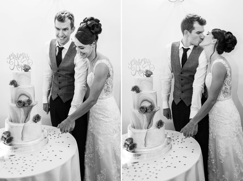 Wedding cake being cut