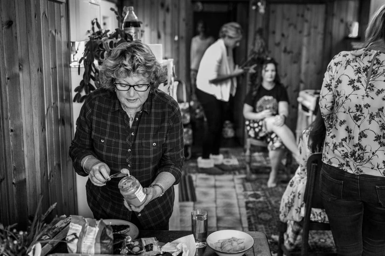 bride's mum making a sandwich