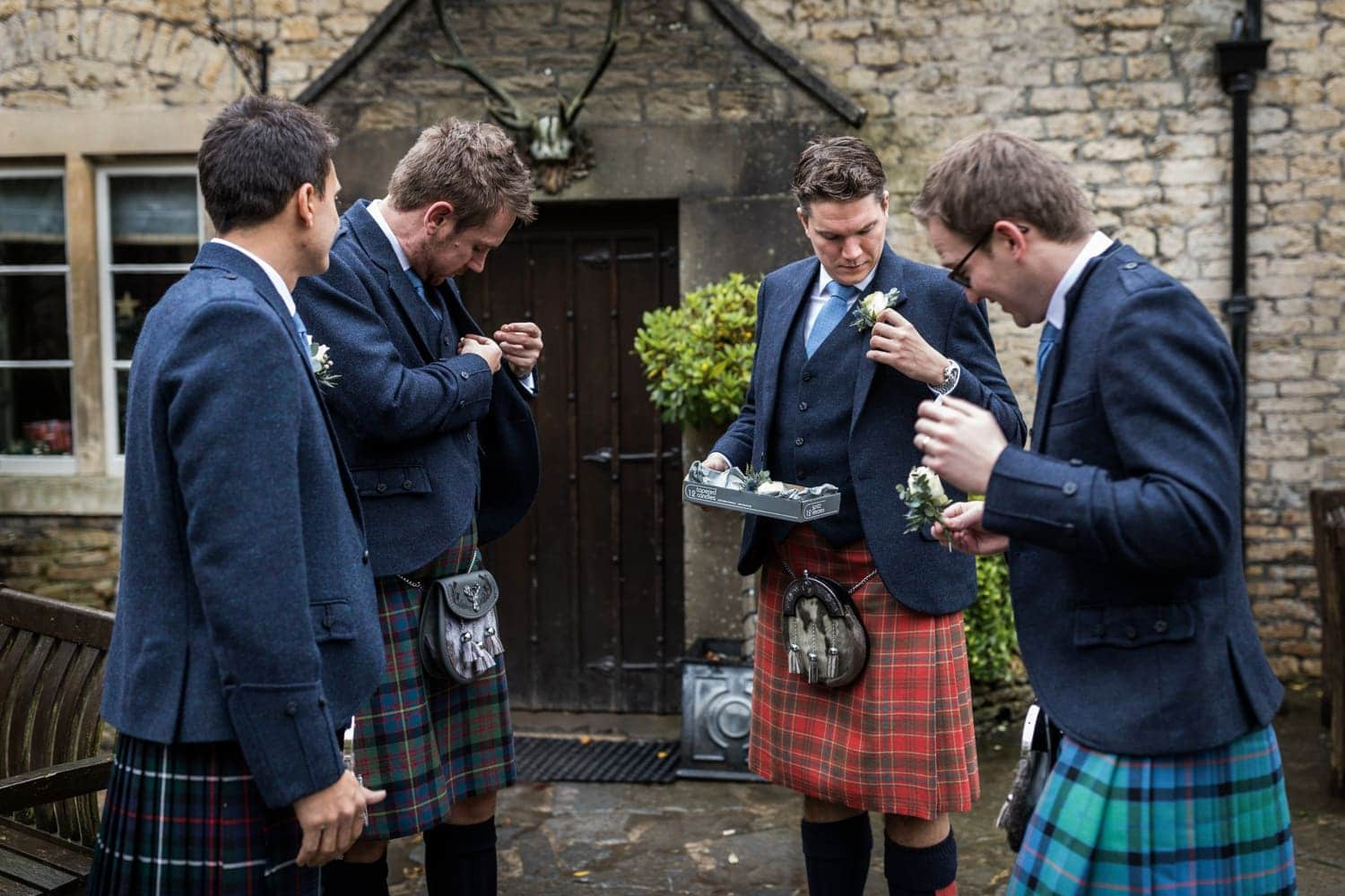 Groom & ushers before winter wedding at Lost Orangery in the Cotswolds