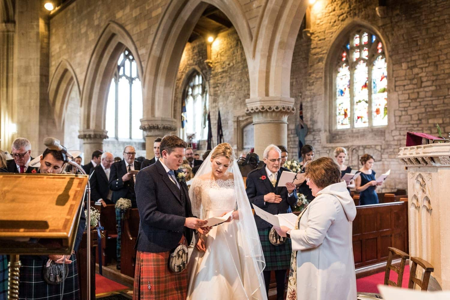 Wedding at Church of Saint John the Baptist, Colerne in the Cotswolds