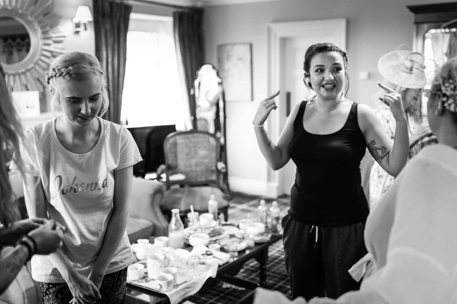 Bridesmaids getting ready at Peterstone Court
