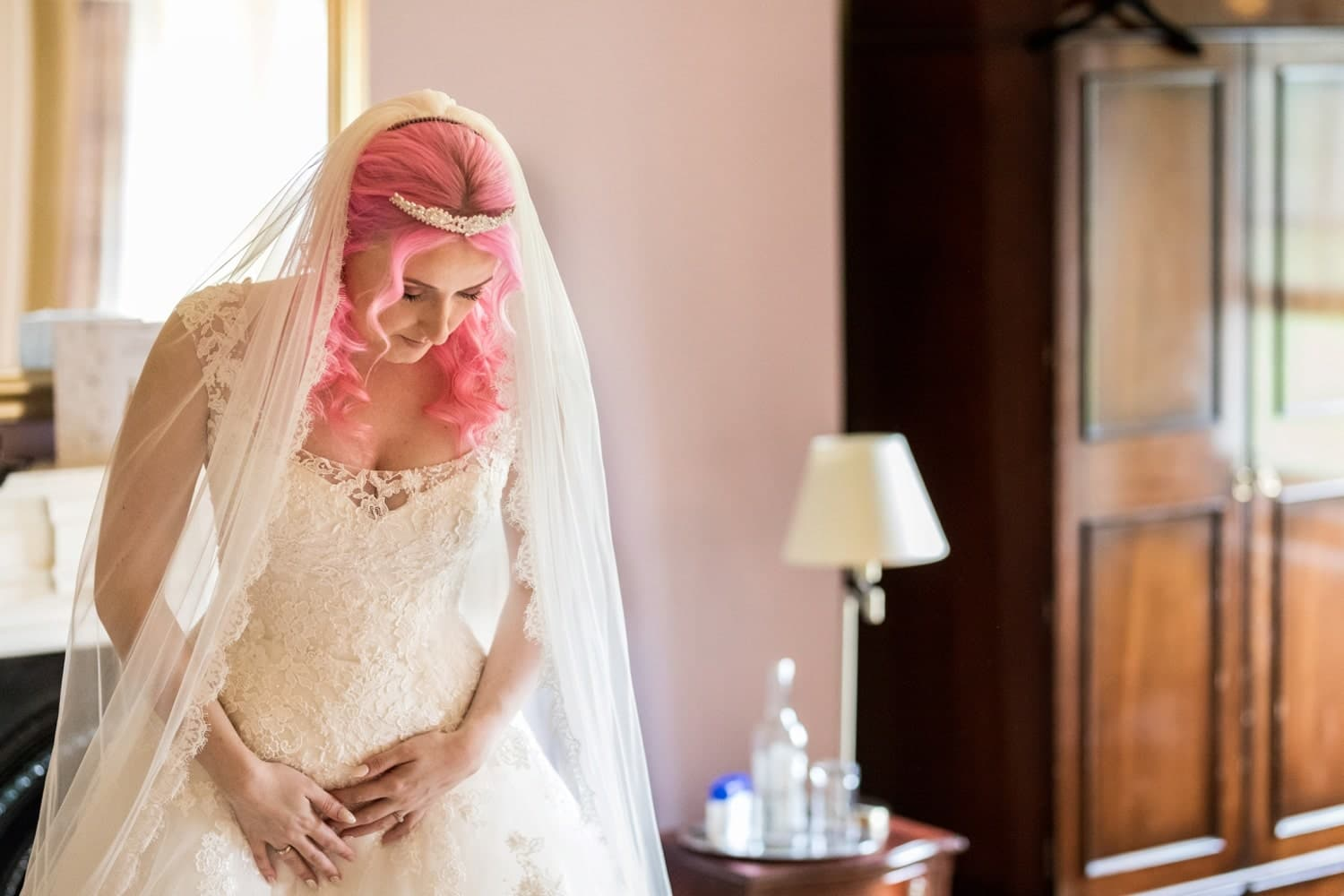 Pink hair bride at Peterstone Court