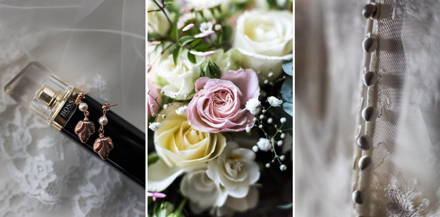Bridal flowers and details for marquee wedding