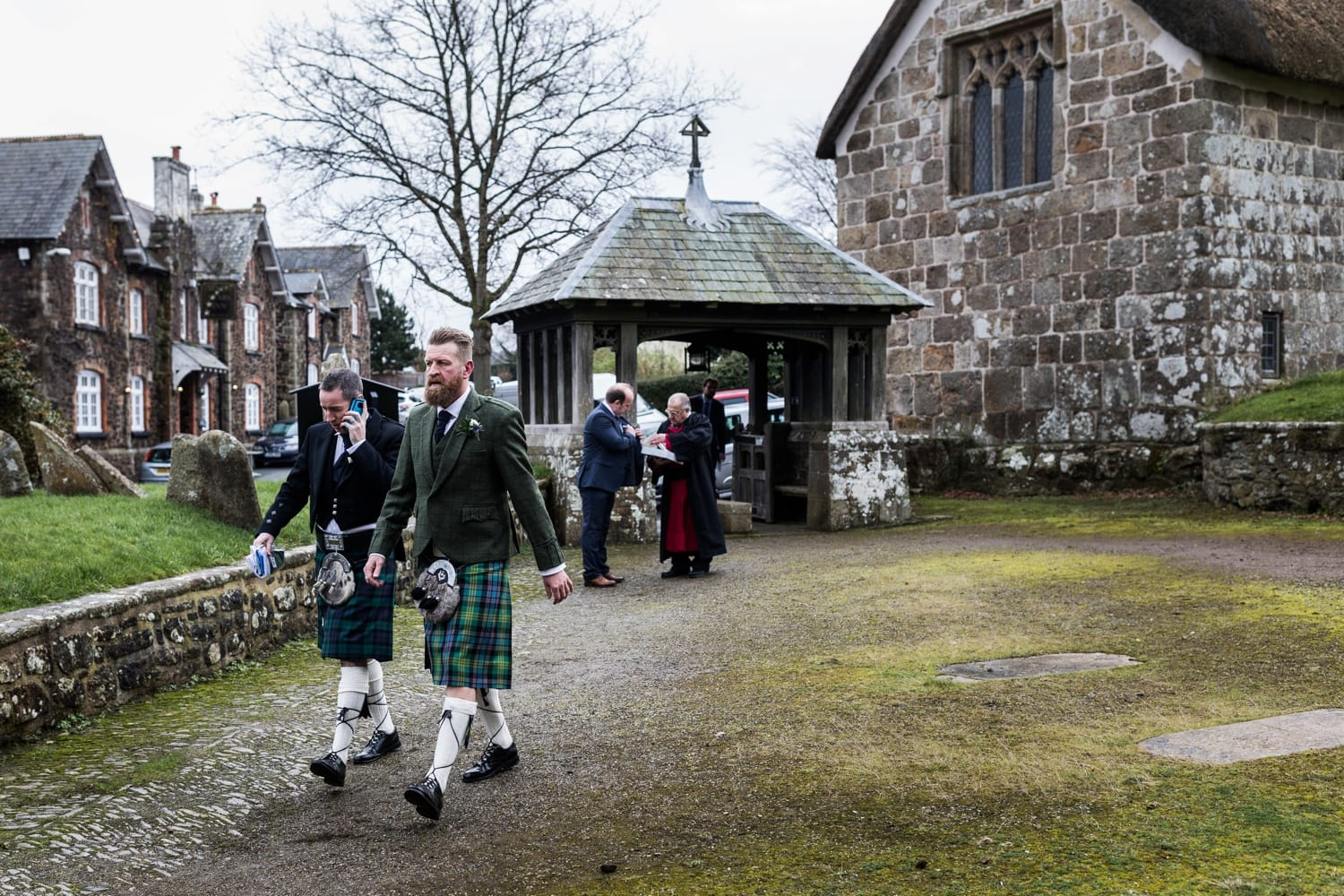 Groom and bestman arriving at St Andrews Church, South Tawton