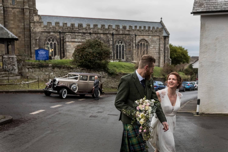 Bride and groom at saturday Andrews Church, South Tawton, Devon