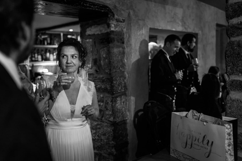 Bride in pub after wedding