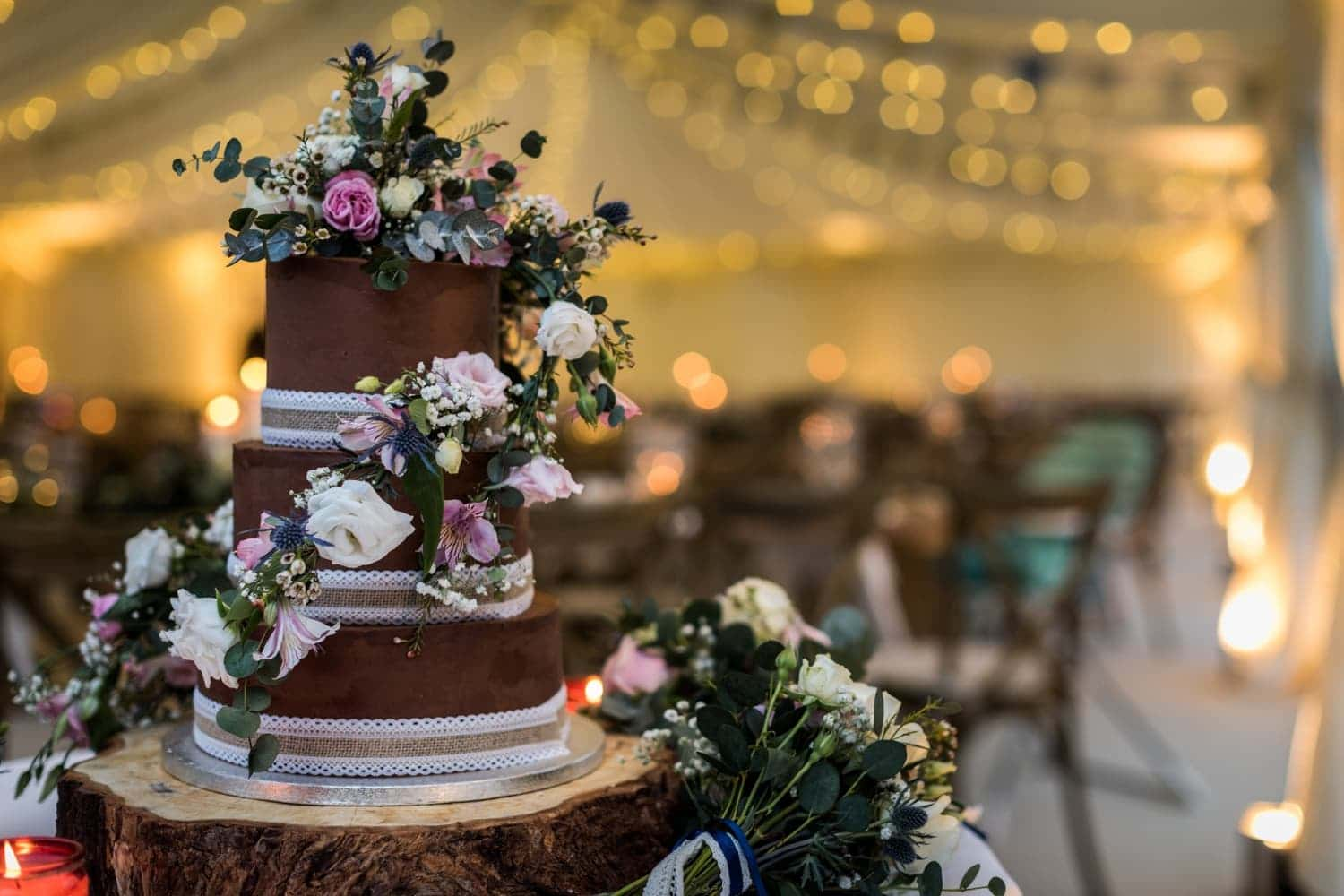 cake at Marquee wedding reception