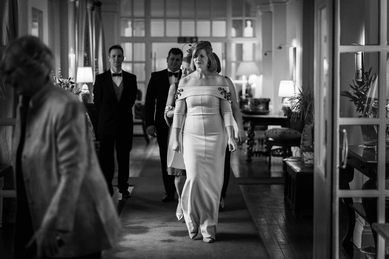 Bride in hallway at Llangoed Hall