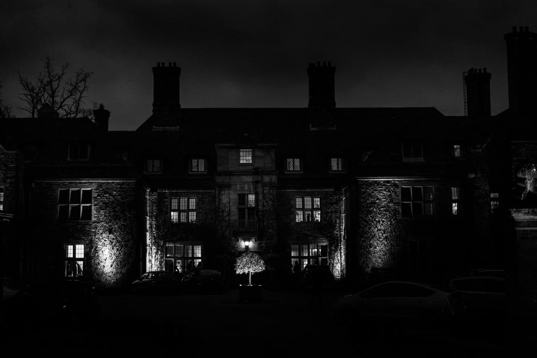 Langoed Hall at night