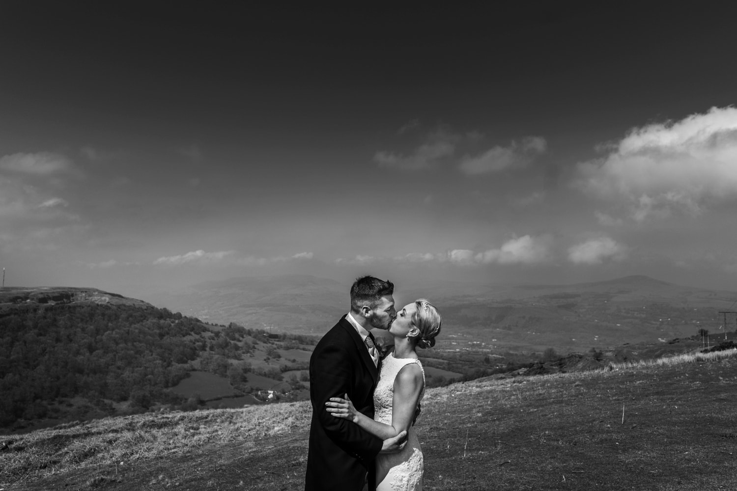 Bride and groom amongst the hills of South Wales