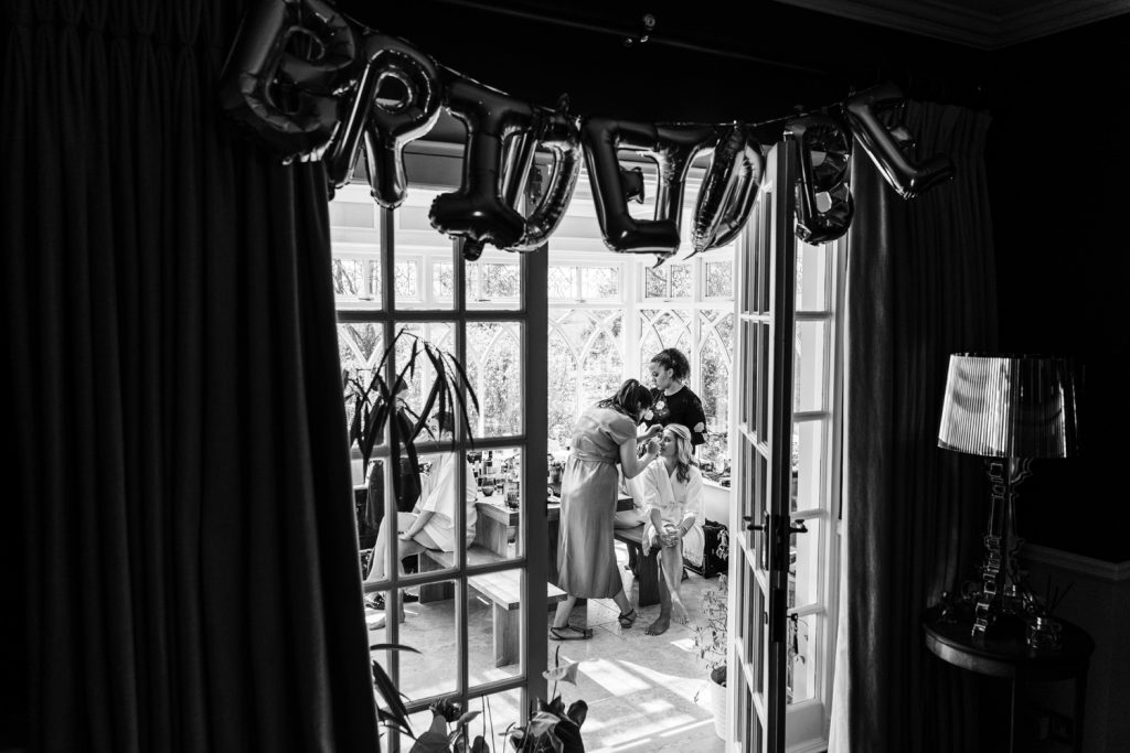 Bridal preparations for a Llanerch Vineyard wedding