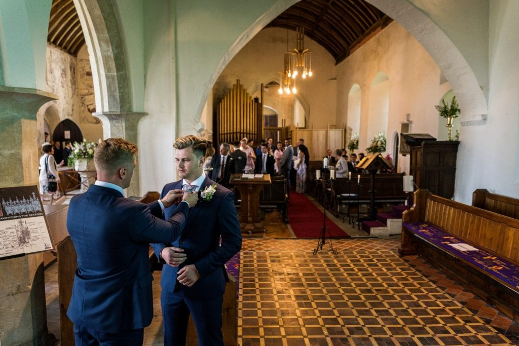 Groom waiting at alter for a South Wales wedding ceremony