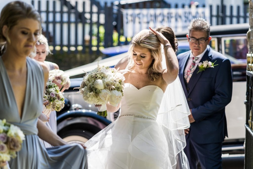 Bride arrives for a South Wales wedding
